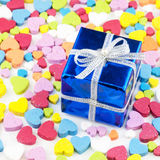 Gift box is placed on the heart Stock Photography