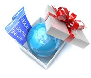 Gift box with planet earth inside and airplane tickets Stock Photography