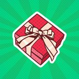 Gift Box Pop Art Retro Style Of Realistic Present With Ribbon And Bow On Dots Background. Vector Illustration Stock Photos