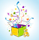 Gift Box. Popping out with confetti and toys Stock Photos