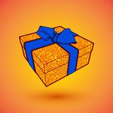 Gift box present with blue bow anrd ibbon. EPS10 Vector illustration for 8 march happy womans day.  Royalty Free Stock Photos