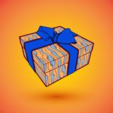 Gift box present with blue bow anrd ibbon. EPS10 Vector illustration for 8 march happy womans day.  Royalty Free Stock Photo