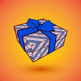 Gift box present with blue bow anrd ibbon. EPS10 Vector illustration for 8 march happy womans day.  Stock Photography