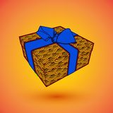Gift box present with blue bow anrd ibbon. EPS10 Vector illustration for 8 march happy womans day.  Royalty Free Stock Images