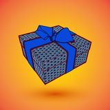 Gift box present with blue bow anrd ibbon. EPS10 Vector illustration for 8 march happy womans day.  Royalty Free Stock Image