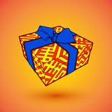 Gift box present with blue bow anrd ibbon.  illustration for 8 march happy womans day.  Royalty Free Stock Photos