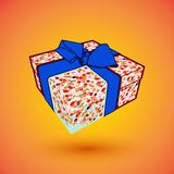 Gift box present with blue bow anrd ibbon.  illustration for 8 march happy womans day.  Royalty Free Stock Image