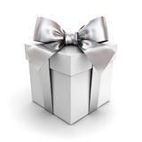 Gift box or present box with silver ribbon bow isolated on white Stock Images
