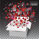 Gift box present with fly hearts Valentine`s day. Red Heart Conf Royalty Free Stock Photos
