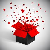 Gift box present with fly hearts Valentine`s day vector illustration.  Stock Image