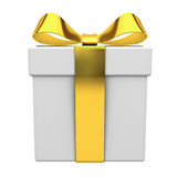 Gift box present with gold ribbon bow isolated on white background Royalty Free Stock Photos