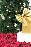 Gift box present with golden ribbon, christmas tree and poinsett Royalty Free Stock Photography