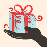 Gift Box - Present in Hand Stock Image