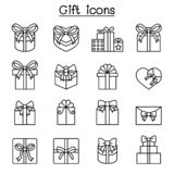 Gift box, Present icon set in thin line style vector illustration
