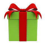Gift box present with red ribbon bow on green box for christmas isolated Royalty Free Stock Photo