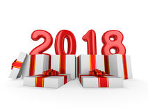 Gift box present with red ribbon bow and With inflatable figures. 2018. 3D rendering Royalty Free Stock Images