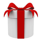 Gift box present with red ribbon bow isolated Stock Photography