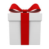Gift box present with red ribbon bow isolated Stock Photos