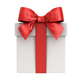 Gift box or present box with red ribbon bow isolated on white background Stock Photo