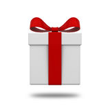 Gift box present with red ribbon bow isolated on white background with shadow Stock Photos