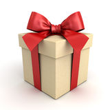 Gift box , Present box with red ribbon bow isolated on white background Royalty Free Stock Image