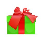 Gift box present with red ribbon bow Stock Photo