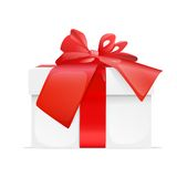 Gift box present red ribbon bow. Isolated on white background vector illustration Royalty Free Stock Images