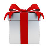 Gift box present with red ribbon bow on silver box isolated Royalty Free Stock Photography