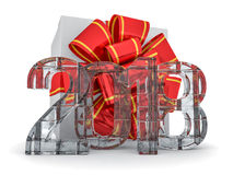 Gift box present with ribbon bow and With ice figures 2018. 3D rendering Royalty Free Stock Photo