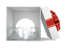 Gift box present with ribbon bow and With ice figures 2018. 3D rendering Stock Images