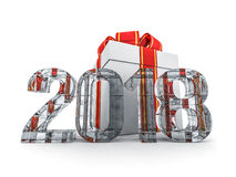 Gift box present with ribbon bow and With ice figures 2018. 3D rendering Stock Photos