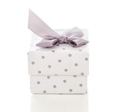 Gift box present with satin bow Stock Photos