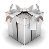 Gift box present with silver ribbon bow and box Stock Photography