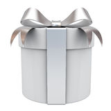 Gift box present with silver ribbon bow Royalty Free Stock Image