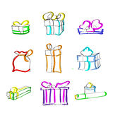 Gift Box Present Sketch Hand Draw Thin Line. Colorul Icon Set Collection Flat Vector Illustration Stock Image