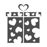 Gift box, present on Valentines day. Gift box icon. Present for Valentines day with hearts pattern. Solid dark gray or light black color. Isolated Vector Royalty Free Stock Photo