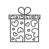 Gift box, present on Valentines day. Gift box icon. Present for Valentines day with hearts pattern. Thin outline icon. Isolated Vector Illustration Royalty Free Stock Photography