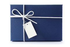 Gift box or present box with white rope bow and blank tag  on white background. With shadow . 3D rendering Royalty Free Stock Image