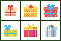 Gift box present wrapped package icon vector set. Packed holiday boxing with bows and ribbons isolated on white, decorated by flower and cones Royalty Free Stock Images