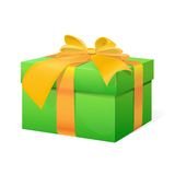 Gift box present with yellow ribbon bow Royalty Free Stock Images