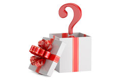 Gift box with question mark, surprise concept. 3D rendering Royalty Free Stock Images