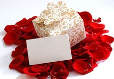 Gift box on red Stock Photography