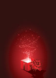Gift box on red background stock illustration