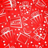 Gift box red background Stock Photo