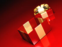 Gift box on red background Stock Image