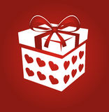 Gift box  on red background. Stock Photo
