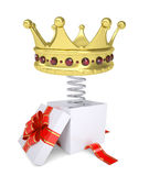 Gift box with red band and crown on spring Stock Photography