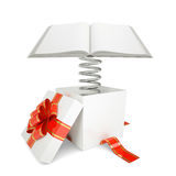 Gift box with red band and open book Royalty Free Stock Image