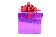 Gift box with red bow Royalty Free Stock Photos