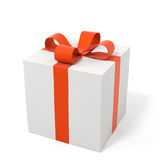 Gift box with a red bow. Isolated on white Stock Images